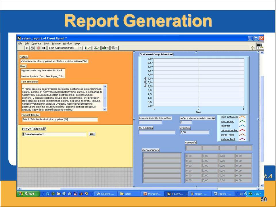 50 Přednáška č.4 Report Generation
