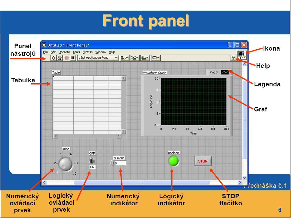 6 Front panel Panel nástrojů Logický ovládací prvek GrafLegenda Logický indikátor STOP tlačítko Tabulka Ikona Numerický indikátor Numerický ovládací p