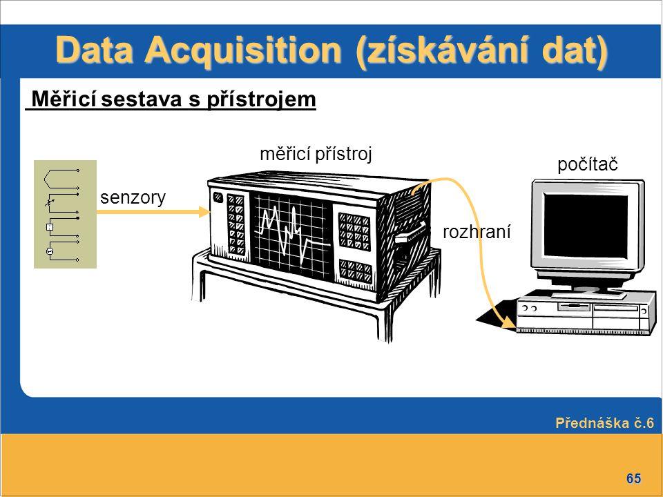 65 měřicí přístroj Data Acquisition (získávání dat) senzory Měřicí sestava s přístrojem počítač rozhraní Přednáška č.6