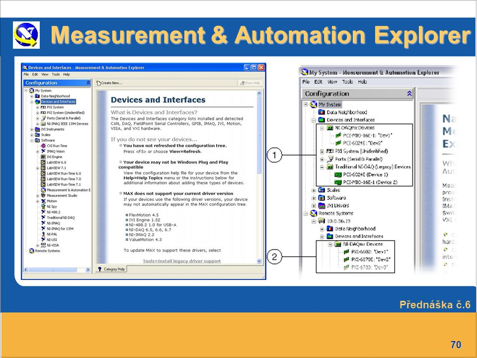 70 Measurement & Automation Explorer Přednáška č.6