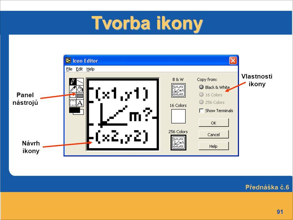 91 Tvorba ikony Panel nástrojů Návrh ikony Vlastnosti ikony Přednáška č.6