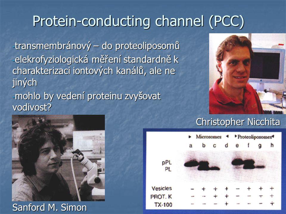 Protein-conducting channel (PCC) - transmembránový – do proteoliposomů - elekrofyziologická měření standardně k charakterizaci iontových kanálů, ale ne jiných - mohlo by vedení proteinu zvyšovat vodivost.