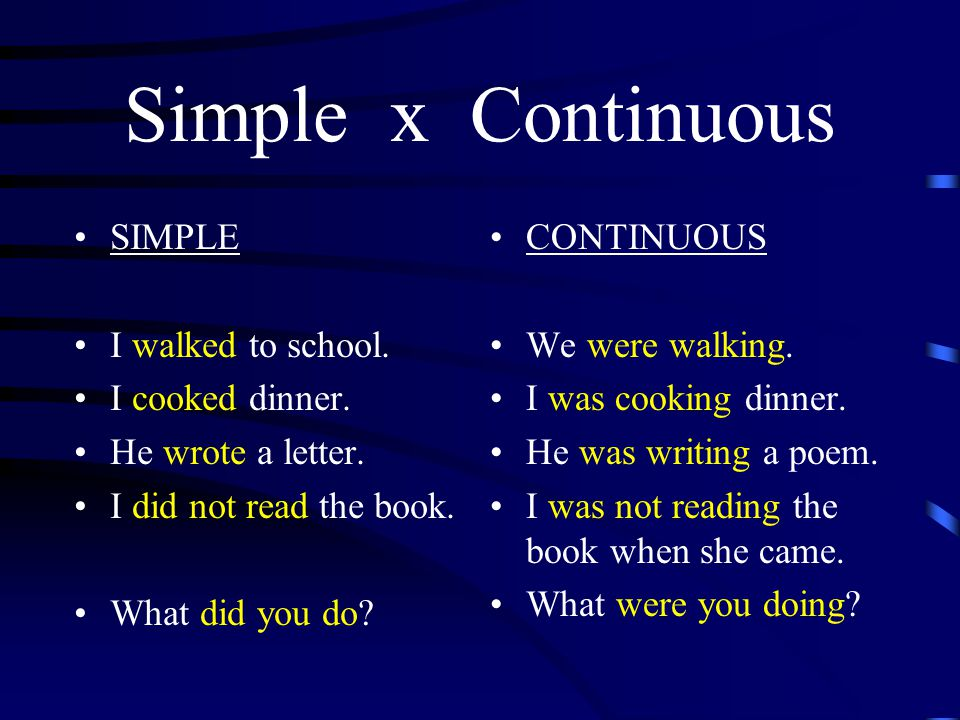 Simple x Continuous SIMPLE I walked to school. I cooked dinner.