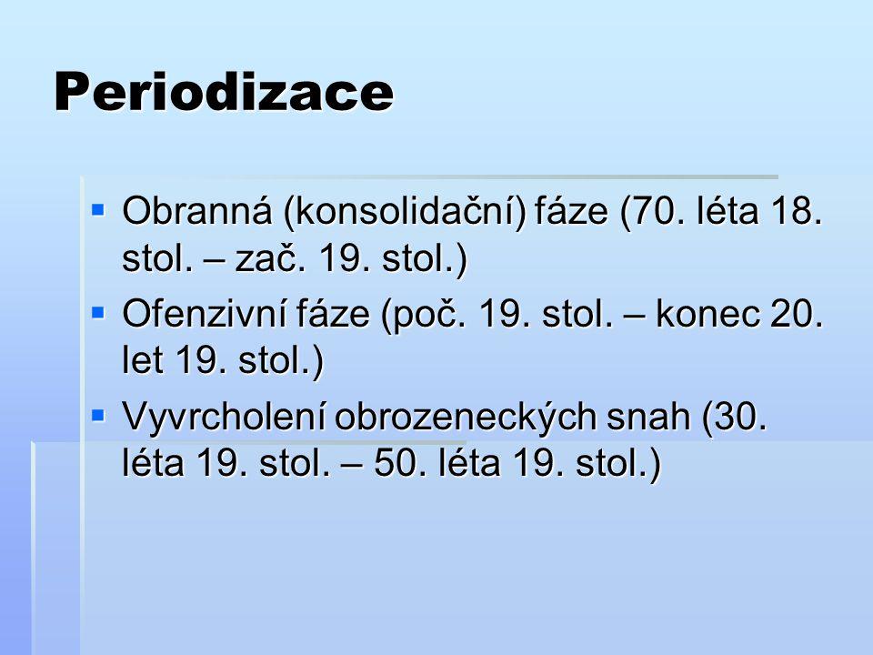 Periodizace  Obranná (konsolidační) fáze (70. léta 18. stol. – zač. 19. stol.)  Ofenzivní fáze (poč. 19. stol. – konec 20. let 19. stol.)  Vyvrchol