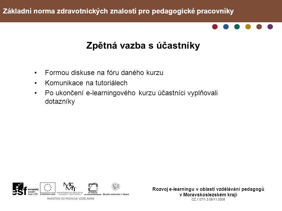 Základní norma zdravotnických znalostí pro pedagogické pracovníky Rozvoj e-learningu v oblasti vzdělávání pedagogů v Moravskoslezském kraji CZ.1.07/1.3.05/11.0008 Zpětná vazba s účastníky Formou diskuse na fóru daného kurzu Komunikace na tutoriálech Po ukončení e-learningového kurzu účastníci vyplňovali dotazníky