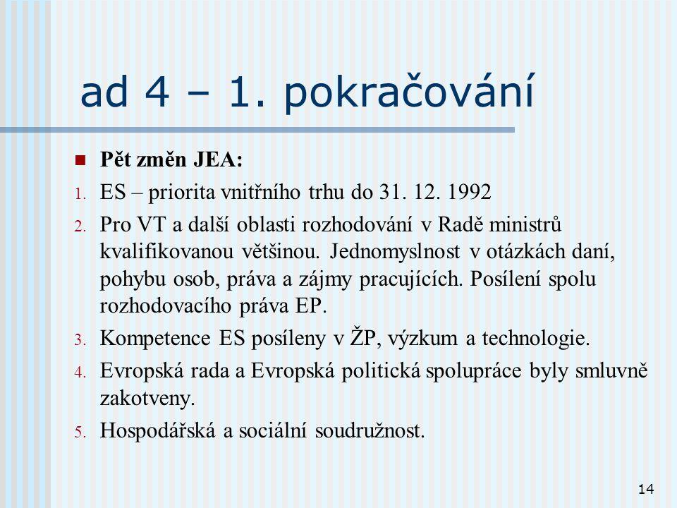 14 ad 4 – 1. pokračování Pět změn JEA: 1. ES – priorita vnitřního trhu do 31.