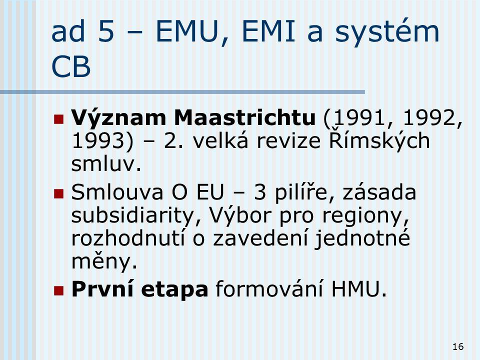 16 ad 5 – EMU, EMI a systém CB Význam Maastrichtu (1991, 1992, 1993) – 2.