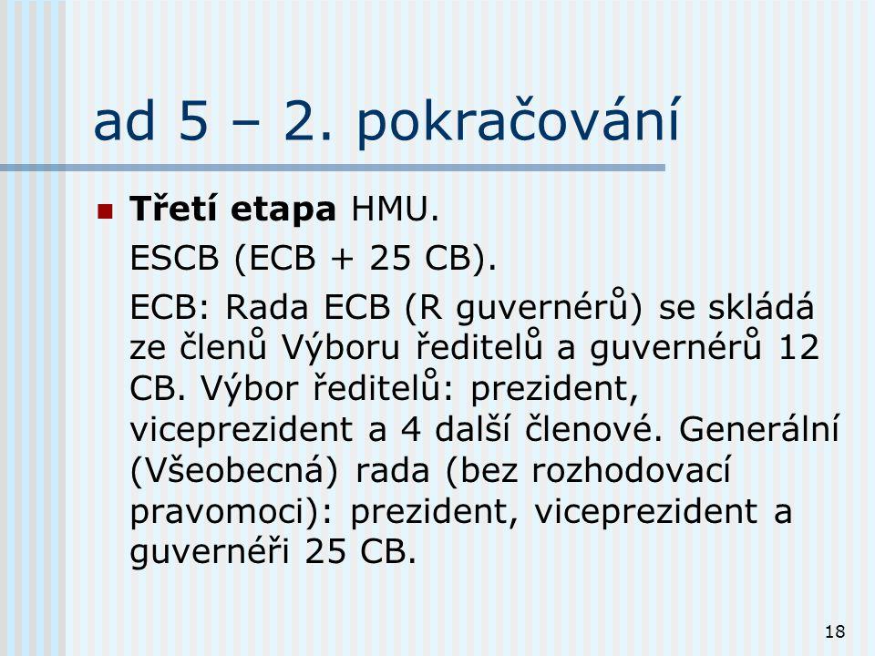 18 ad 5 – 2. pokračování Třetí etapa HMU. ESCB (ECB + 25 CB).