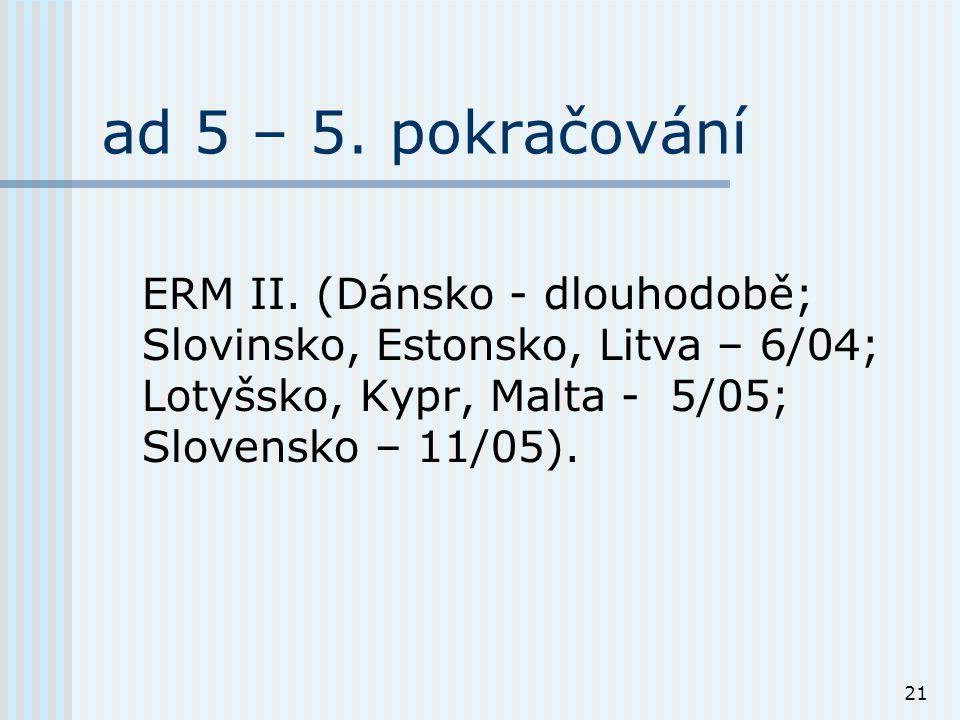 21 ad 5 – 5. pokračování ERM II.