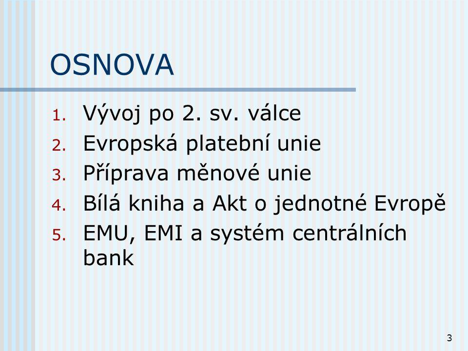 3 OSNOVA 1. Vývoj po 2. sv. válce 2. Evropská platební unie 3.