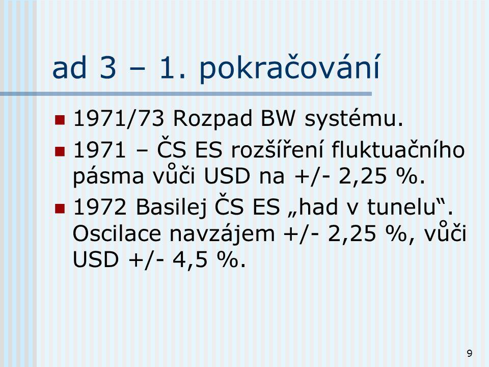 9 ad 3 – 1. pokračování 1971/73 Rozpad BW systému.