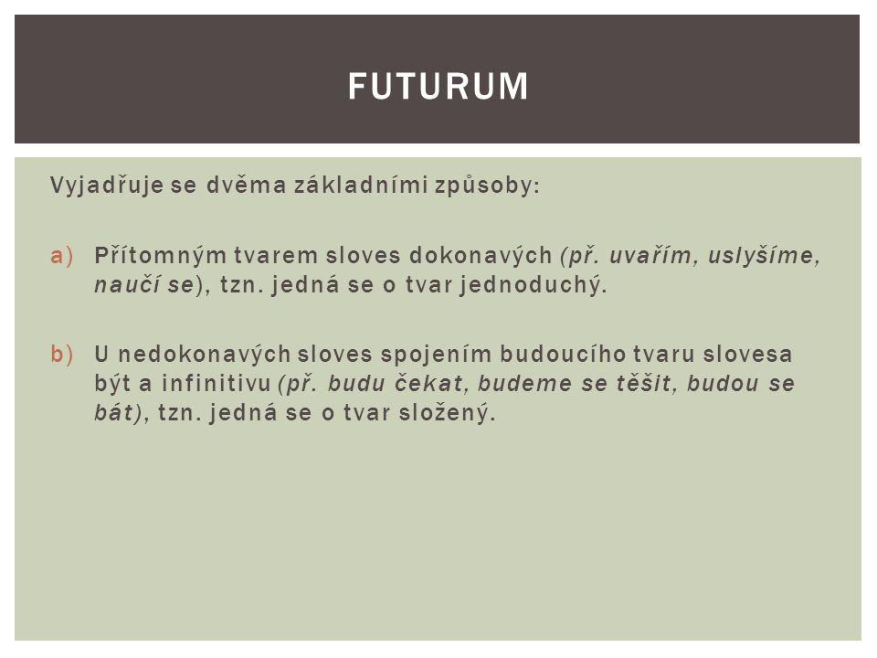 Vyjadřuje se dvěma základními způsoby: a)Přítomným tvarem sloves dokonavých (př.