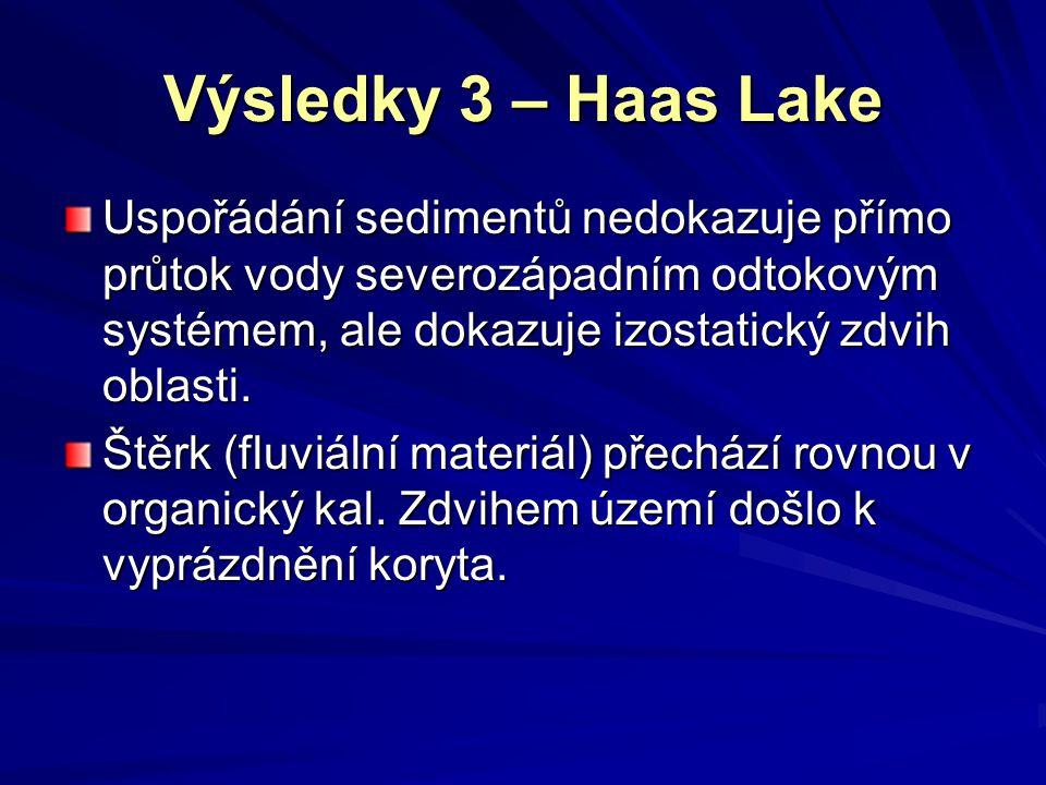 Výsledky 3 – Haas Lake Uspořádání sedimentů nedokazuje přímo průtok vody severozápadním odtokovým systémem, ale dokazuje izostatický zdvih oblasti. Št