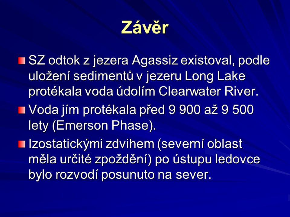 Závěr SZ odtok z jezera Agassiz existoval, podle uložení sedimentů v jezeru Long Lake protékala voda údolím Clearwater River. Voda jím protékala před