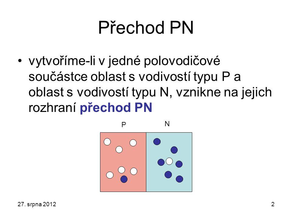 Přechod PN vytvoříme-li v jedné polovodičové součástce oblast s vodivostí typu P a oblast s vodivostí typu N, vznikne na jejich rozhraní přechod PN 27