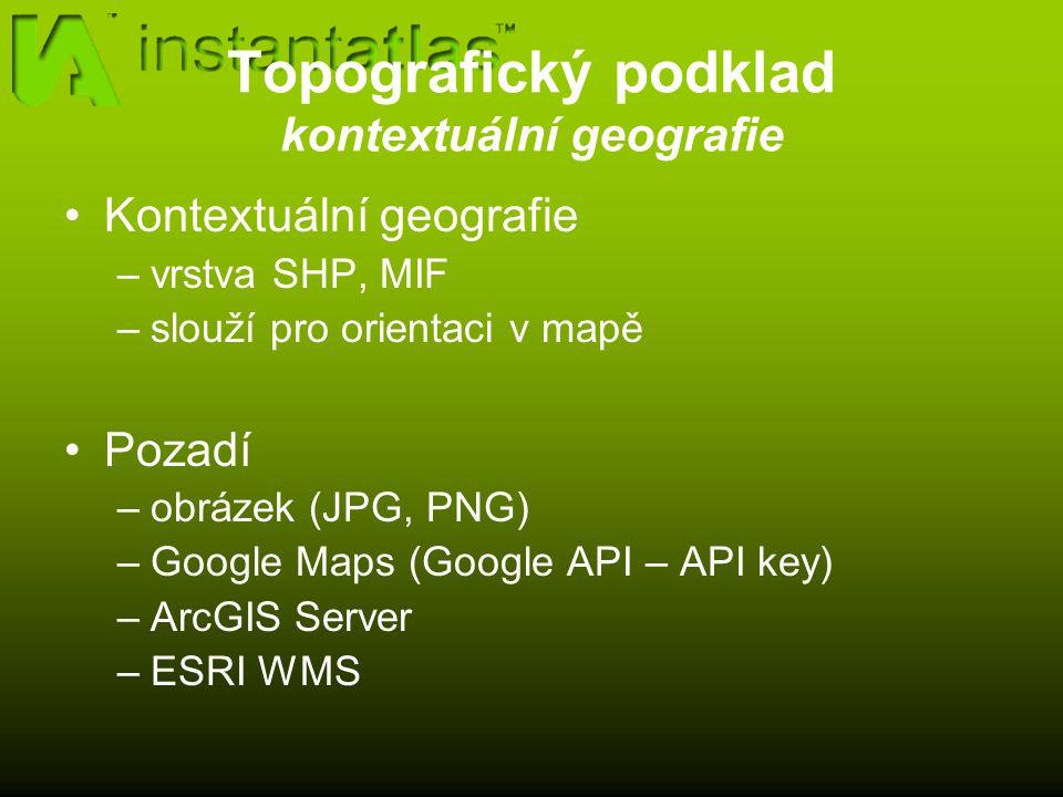 Topografický podklad kontextuální geografie Kontextuální geografie –vrstva SHP, MIF –slouží pro orientaci v mapě Pozadí –obrázek (JPG, PNG) –Google Maps (Google API – API key) –ArcGIS Server –ESRI WMS