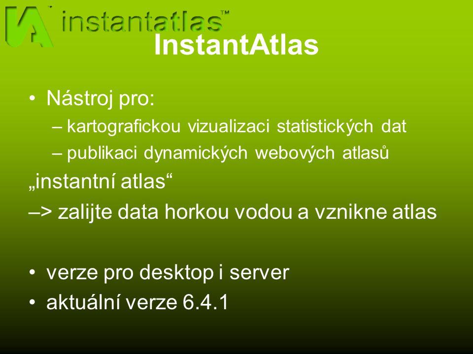 """InstantAtlas Nástroj pro: –kartografickou vizualizaci statistických dat –publikaci dynamických webových atlasů """"instantní atlas –> zalijte data horkou vodou a vznikne atlas verze pro desktop i server aktuální verze 6.4.1"""