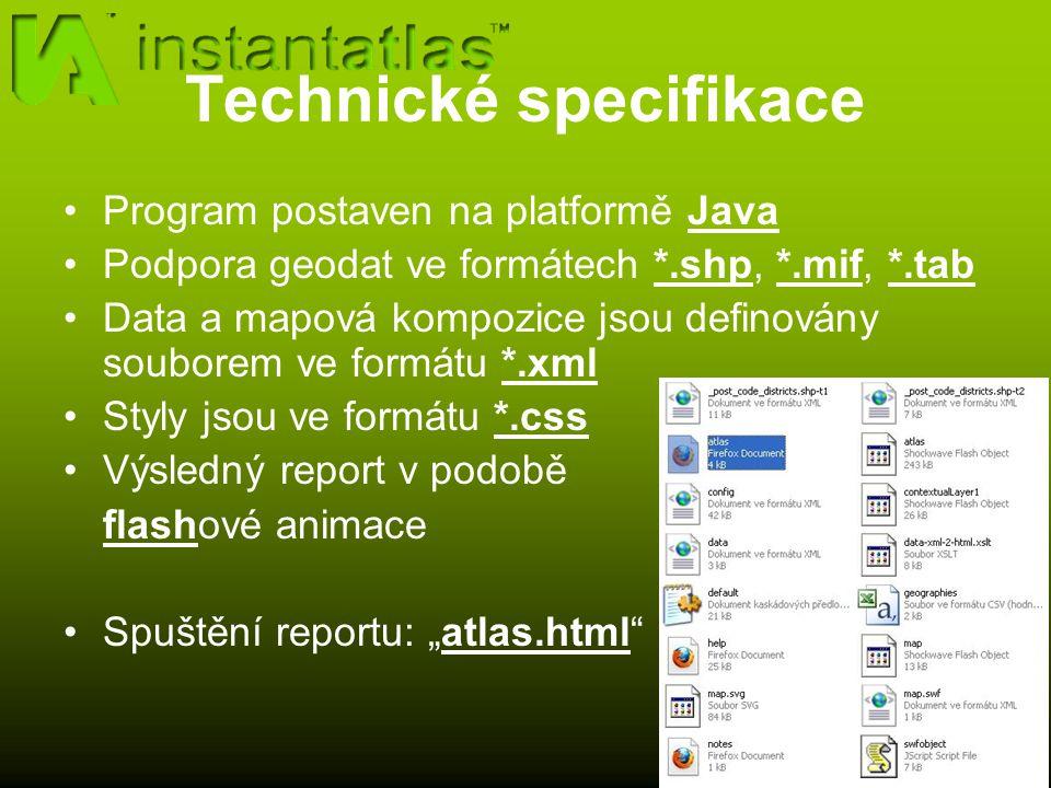 """Technické specifikace Program postaven na platformě Java Podpora geodat ve formátech *.shp, *.mif, *.tab Data a mapová kompozice jsou definovány souborem ve formátu *.xml Styly jsou ve formátu *.css Výsledný report v podobě flashové animace Spuštění reportu: """"atlas.html"""