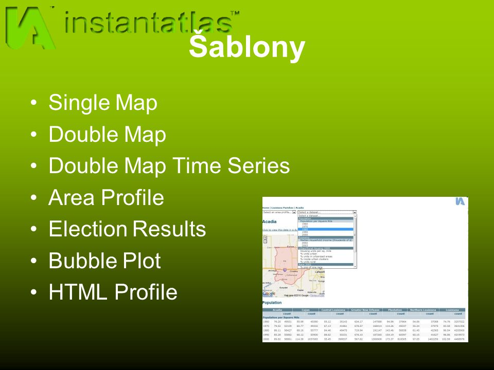 Šablony Single Map Double Map Double Map Time Series Area Profile Election Results Bubble Plot HTML Profile