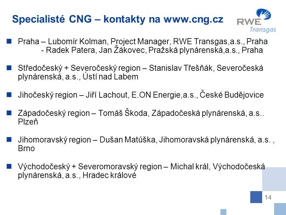 14 Specialisté CNG – kontakty na www.cng.cz Praha – Lubomír Kolman, Project Manager, RWE Transgas,a.s., Praha - Radek Patera, Jan Žákovec, Pražská plynárenská,a.s., Praha Středočeský + Severočeský region – Stanislav Třešňák, Severočeská plynárenská, a.s., Ústí nad Labem Jihočeský region – Jiří Lachout, E.ON Energie,a.s., České Budějovice Západočeský region – Tomáš Škoda, Západočeská plynárenská, a.s..