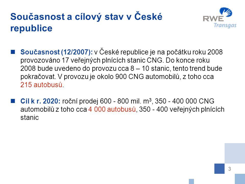 3 Současnost a cílový stav v České republice Současnost (12/2007): v České republice je na počátku roku 2008 provozováno 17 veřejných plnících stanic CNG.