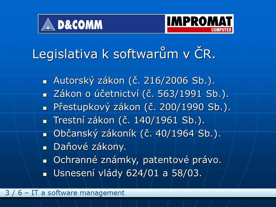 Legislativa k softwarům v ČR. 3 / 6 – IT a software management Autorský zákon (č.