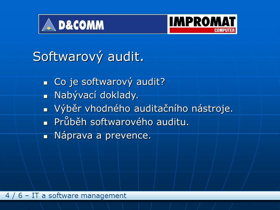 Softwarový audit. 4 / 6 – IT a software management Co je softwarový audit.
