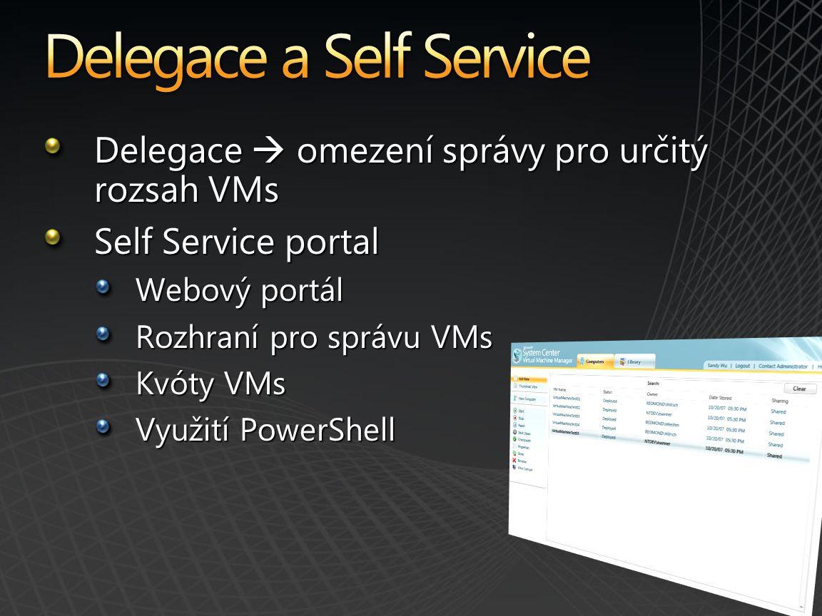 Delegace  omezení správy pro určitý rozsah VMs Self Service portal Webový portál Rozhraní pro správu VMs Kvóty VMs Využití PowerShell