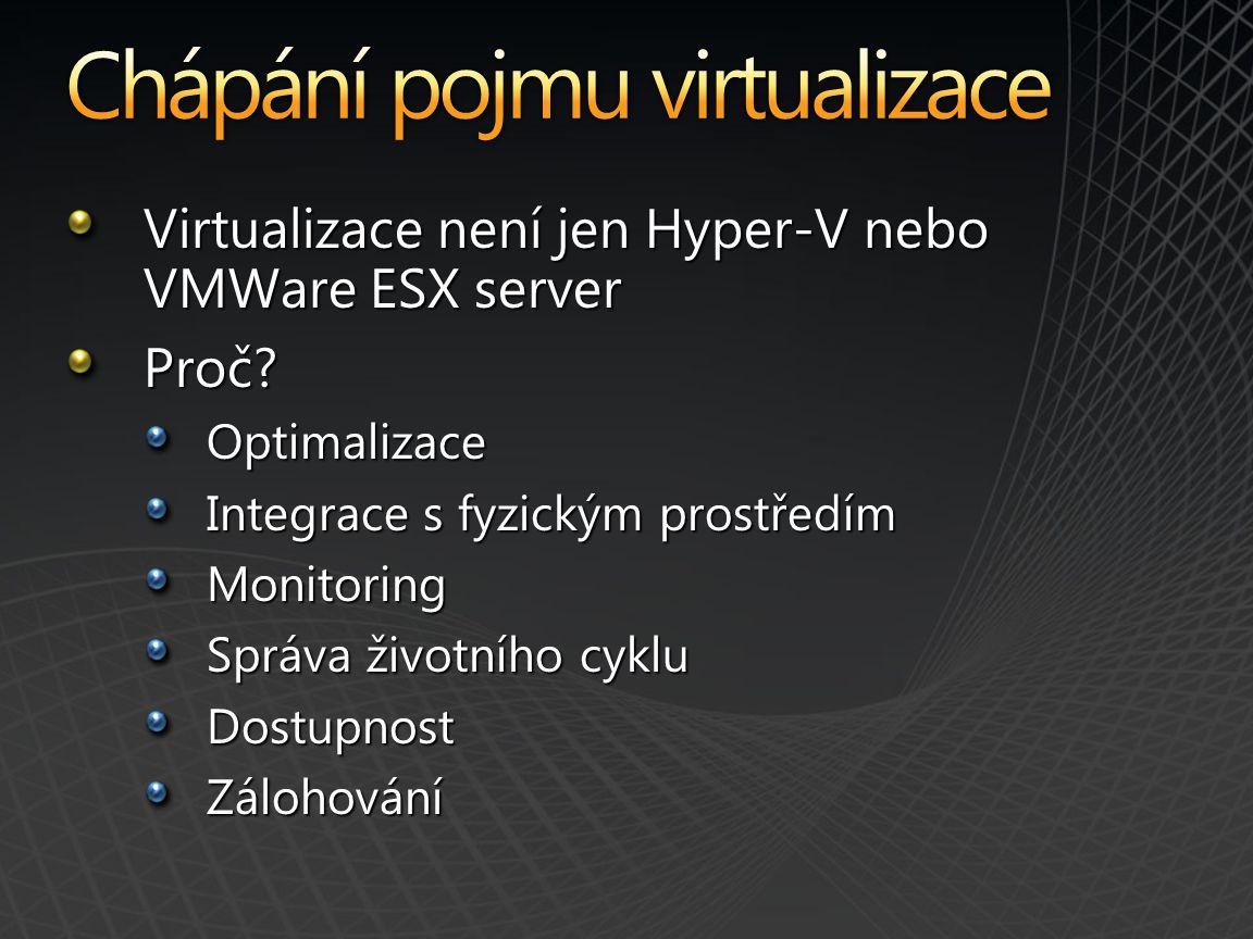 Virtualizace není jen Hyper-V nebo VMWare ESX server Proč Optimalizace Integrace s fyzickým prostředím Monitoring Správa životního cyklu DostupnostZálohování