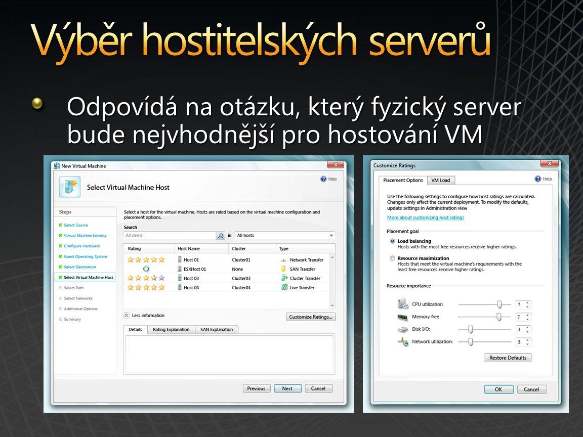 Odpovídá na otázku, který fyzický server bude nejvhodnější pro hostování VM