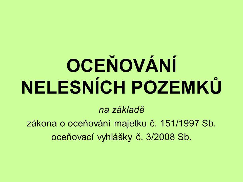 OCEŇOVÁNÍ NELESNÍCH POZEMKŮ na základě zákona o oceňování majetku č. 151/1997 Sb. oceňovací vyhlášky č. 3/2008 Sb.