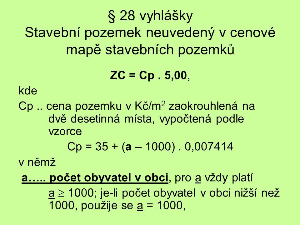 § 28 vyhlášky Stavební pozemek neuvedený v cenové mapě stavebních pozemků ZC = Cp. 5,00, kde Cp.. cena pozemku v Kč/m 2 zaokrouhlená na dvě desetinná