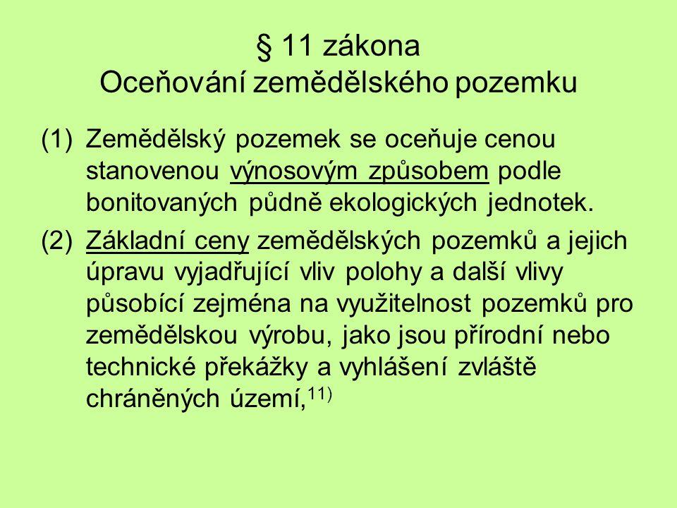 § 11 zákona Oceňování zemědělského pozemku (1)Zemědělský pozemek se oceňuje cenou stanovenou výnosovým způsobem podle bonitovaných půdně ekologických