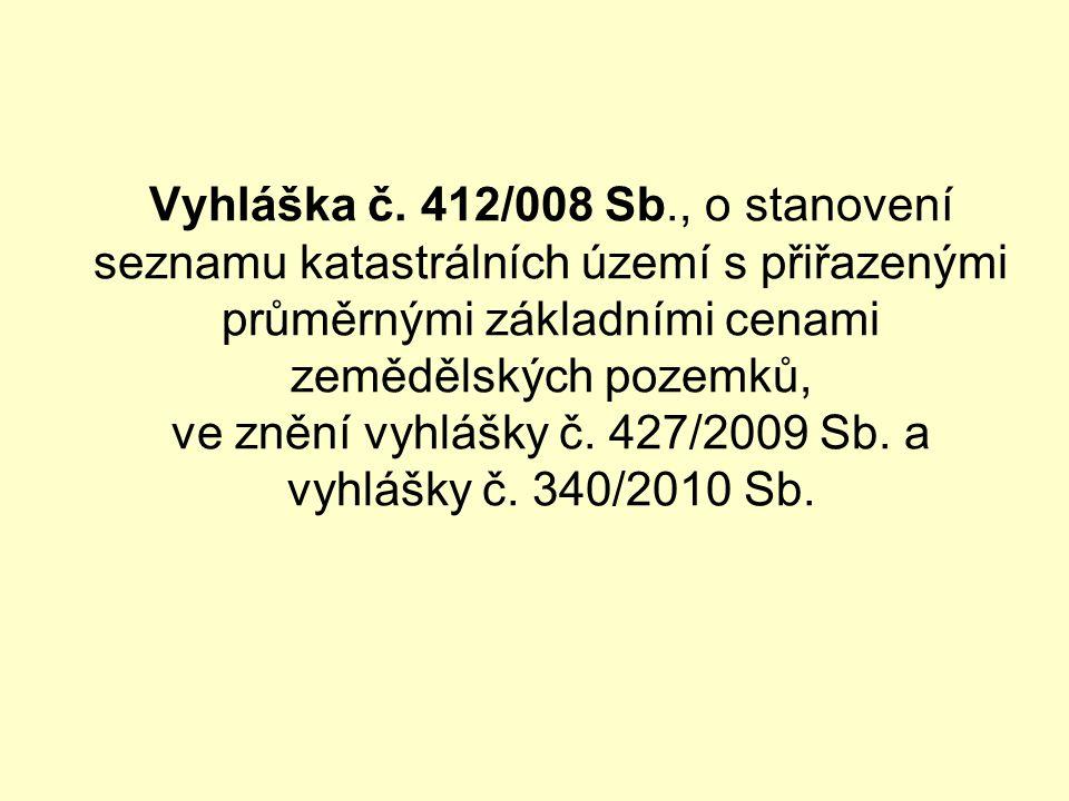 Vyhláška č. 412/008 Sb., o stanovení seznamu katastrálních území s přiřazenými průměrnými základními cenami zemědělských pozemků, ve znění vyhlášky č.