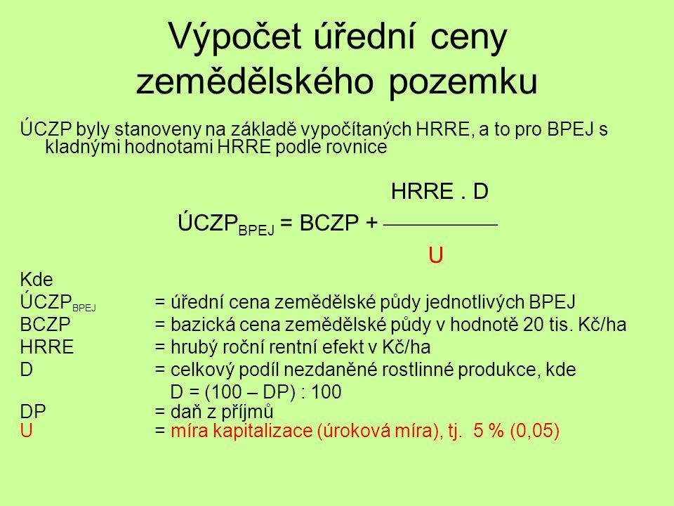 Výpočet úřední ceny zemědělského pozemku ÚCZP byly stanoveny na základě vypočítaných HRRE, a to pro BPEJ s kladnými hodnotami HRRE podle rovnice HRRE.