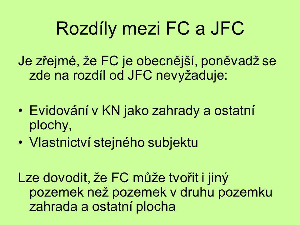 Rozdíly mezi FC a JFC Je zřejmé, že FC je obecnější, poněvadž se zde na rozdíl od JFC nevyžaduje: Evidování v KN jako zahrady a ostatní plochy, Vlastn