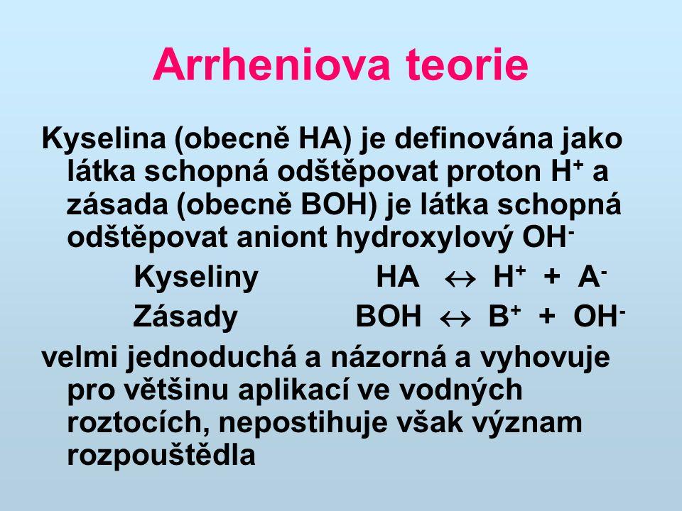 Arrheniova teorie Kyselina (obecně HA) je definována jako látka schopná odštěpovat proton H + a zásada (obecně BOH) je látka schopná odštěpovat aniont hydroxylový OH - Kyseliny HA  H + + A - Zásady BOH  B + + OH - velmi jednoduchá a názorná a vyhovuje pro většinu aplikací ve vodných roztocích, nepostihuje však význam rozpouštědla