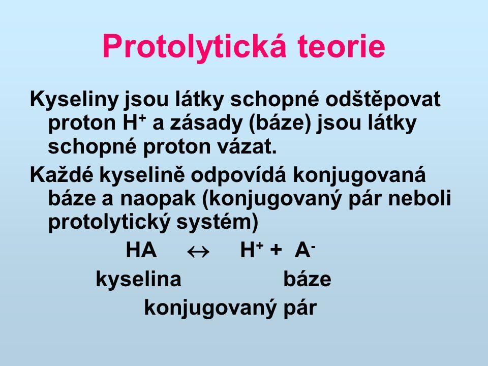 Protolytická teorie Kyseliny jsou látky schopné odštěpovat proton H + a zásady (báze) jsou látky schopné proton vázat.