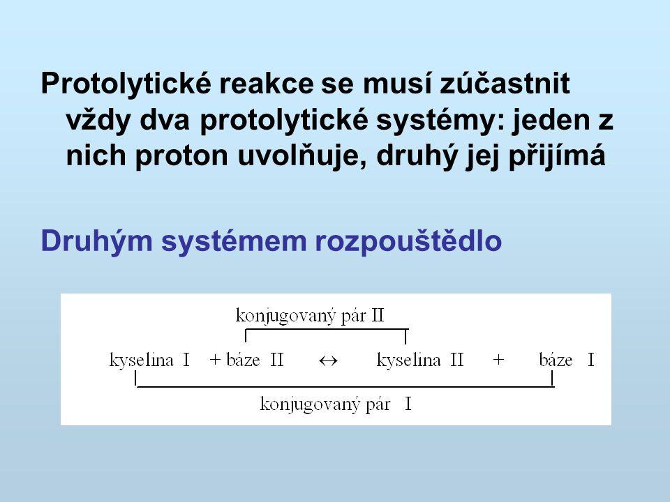 Protolytické reakce se musí zúčastnit vždy dva protolytické systémy: jeden z nich proton uvolňuje, druhý jej přijímá Druhým systémem rozpouštědlo