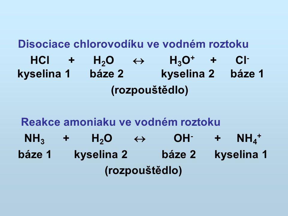 Disociace chlorovodíku ve vodném roztoku HCl + H 2 O  H 3 O + + Cl - kyselina 1 báze 2 kyselina 2 báze 1 (rozpouštědlo) Reakce amoniaku ve vodném roztoku NH 3 + H 2 O  OH - + NH 4 + báze 1 kyselina 2 báze 2 kyselina 1 (rozpouštědlo)
