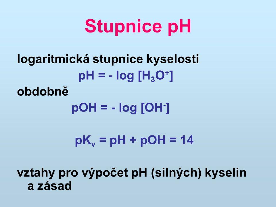 Stupnice pH logaritmická stupnice kyselosti pH = - log [H 3 O + ] obdobně pOH = - log [OH - ] pK v = pH + pOH = 14 vztahy pro výpočet pH (silných) kyselin a zásad