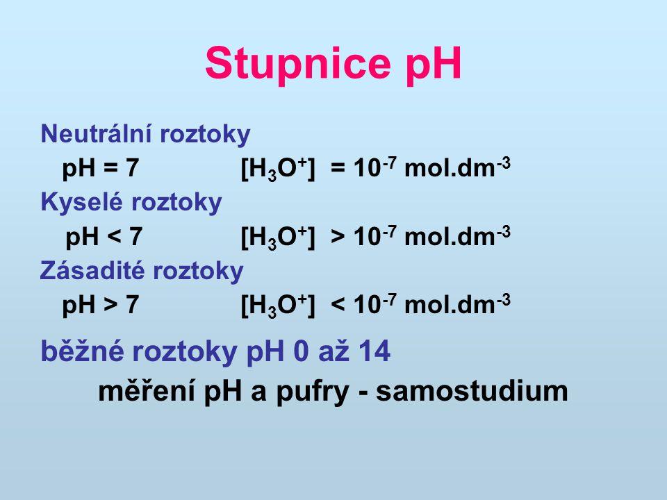 Stupnice pH Neutrální roztoky pH = 7 [H 3 O + ] = 10 -7 mol.dm -3 Kyselé roztoky pH 10 -7 mol.dm -3 Zásadité roztoky pH > 7 [H 3 O + ] < 10 -7 mol.dm -3 běžné roztoky pH 0 až 14 měření pH a pufry - samostudium
