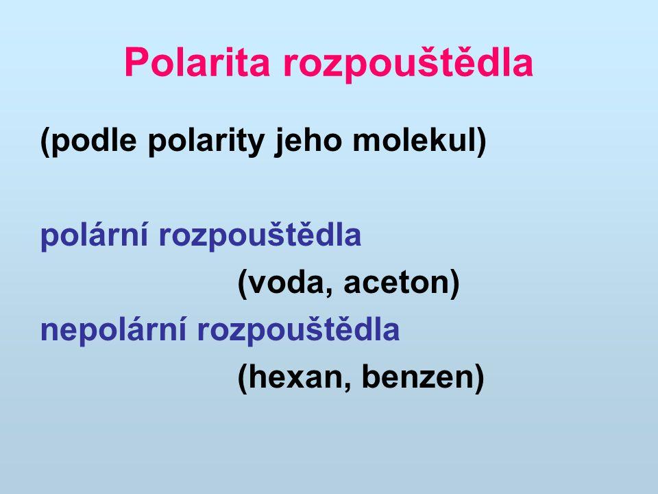 Polarita rozpouštědla (podle polarity jeho molekul) polární rozpouštědla (voda, aceton) nepolární rozpouštědla (hexan, benzen)