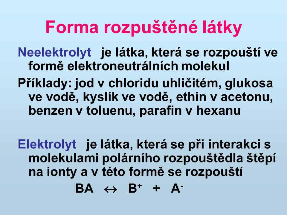 Forma rozpuštěné látky Neelektrolyt je látka, která se rozpouští ve formě elektroneutrálních molekul Příklady: jod v chloridu uhličitém, glukosa ve vodě, kyslík ve vodě, ethin v acetonu, benzen v toluenu, parafin v hexanu Elektrolyt je látka, která se při interakci s molekulami polárního rozpouštědla štěpí na ionty a v této formě se rozpouští BA  B + + A -