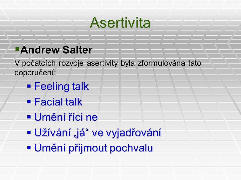 """Asertivita  Andrew Salter V počátcích rozvoje asertivity byla zformulována tato doporučení:  Feeling talk  Facial talk  Umění říci ne  Užívání """"j"""