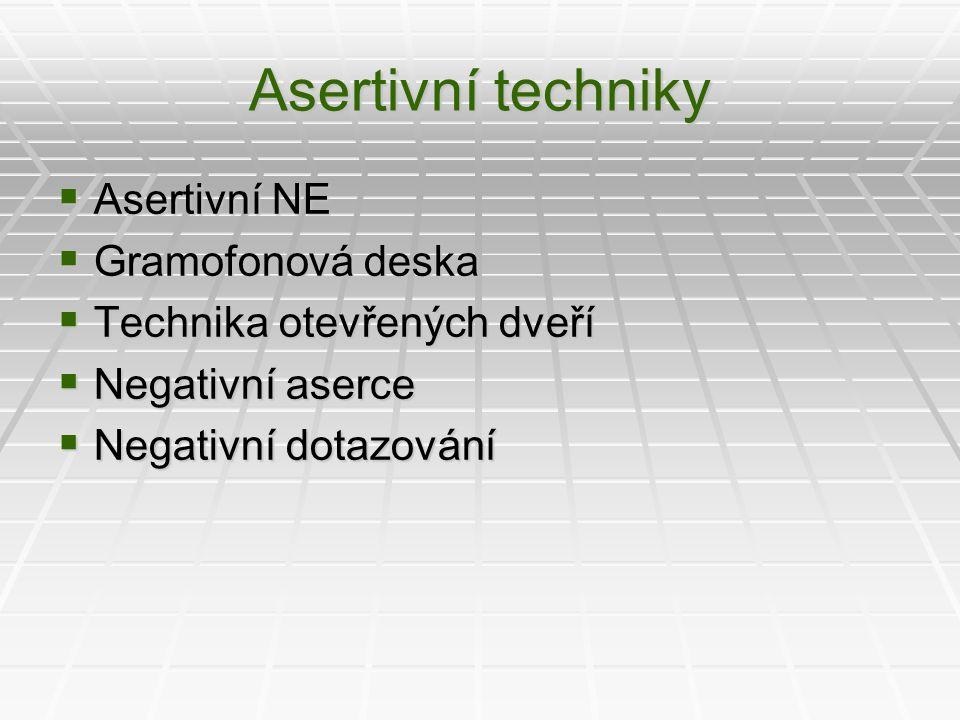 Asertivní techniky  Asertivní NE  Gramofonová deska  Technika otevřených dveří  Negativní aserce  Negativní dotazování
