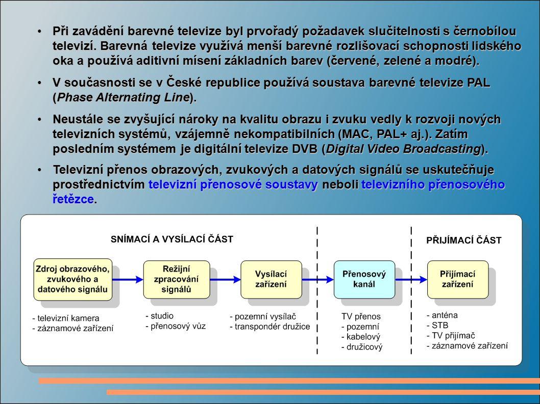 Televizní přenosovu soustavu je možné rozdělit na tři části:Televizní přenosovu soustavu je možné rozdělit na tři části:  snímací a vysílací část,  přenosový kanál,  přijímací část.