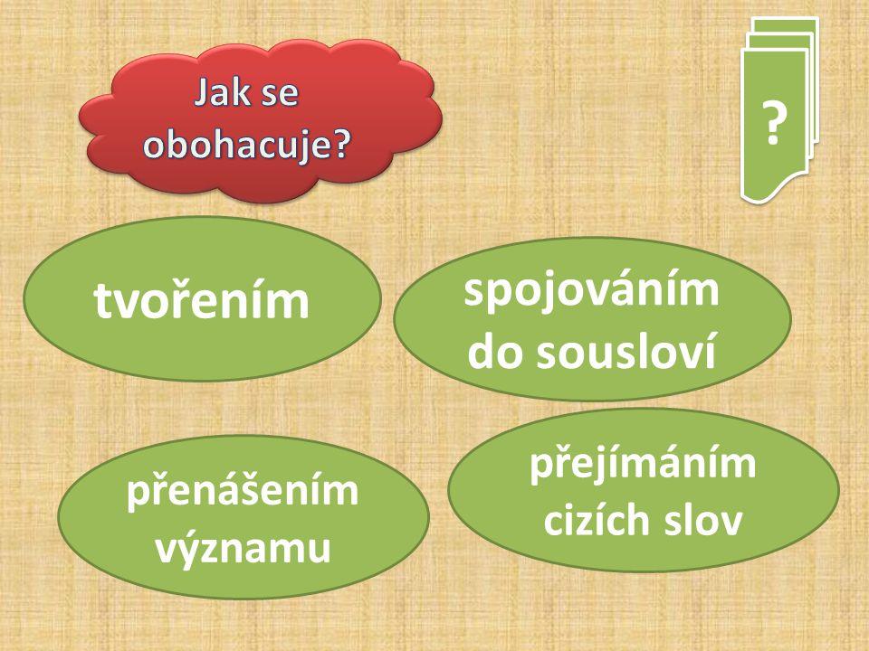 ? ? tvořením přenášením významu spojováním do sousloví přejímáním cizích slov