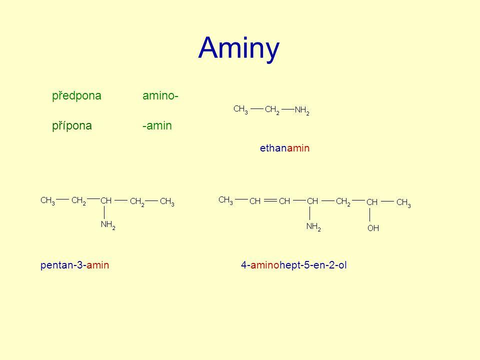 Aminy předponaamino- přípona-amin ethanamin pentan-3-amin4-aminohept-5-en-2-ol