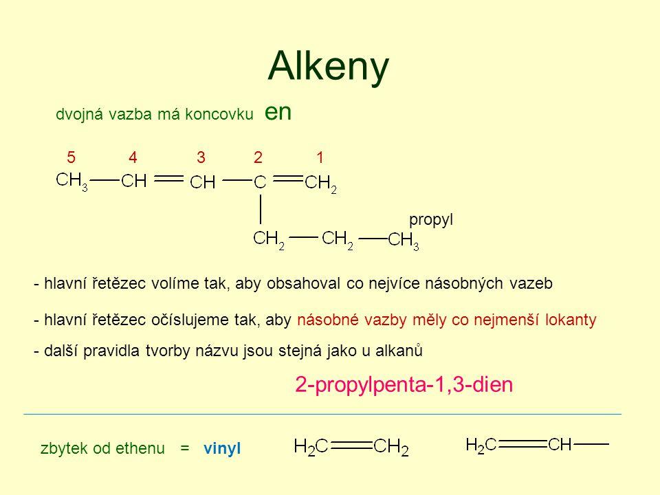 Alkeny propyl 2-propylpenta-1,3-dien - hlavní řetězec volíme tak, aby obsahoval co nejvíce násobných vazeb - hlavní řetězec očíslujeme tak, aby násobné vazby měly co nejmenší lokanty - další pravidla tvorby názvu jsou stejná jako u alkanů 12345 dvojná vazba má koncovku en zbytek od ethenu = vinyl